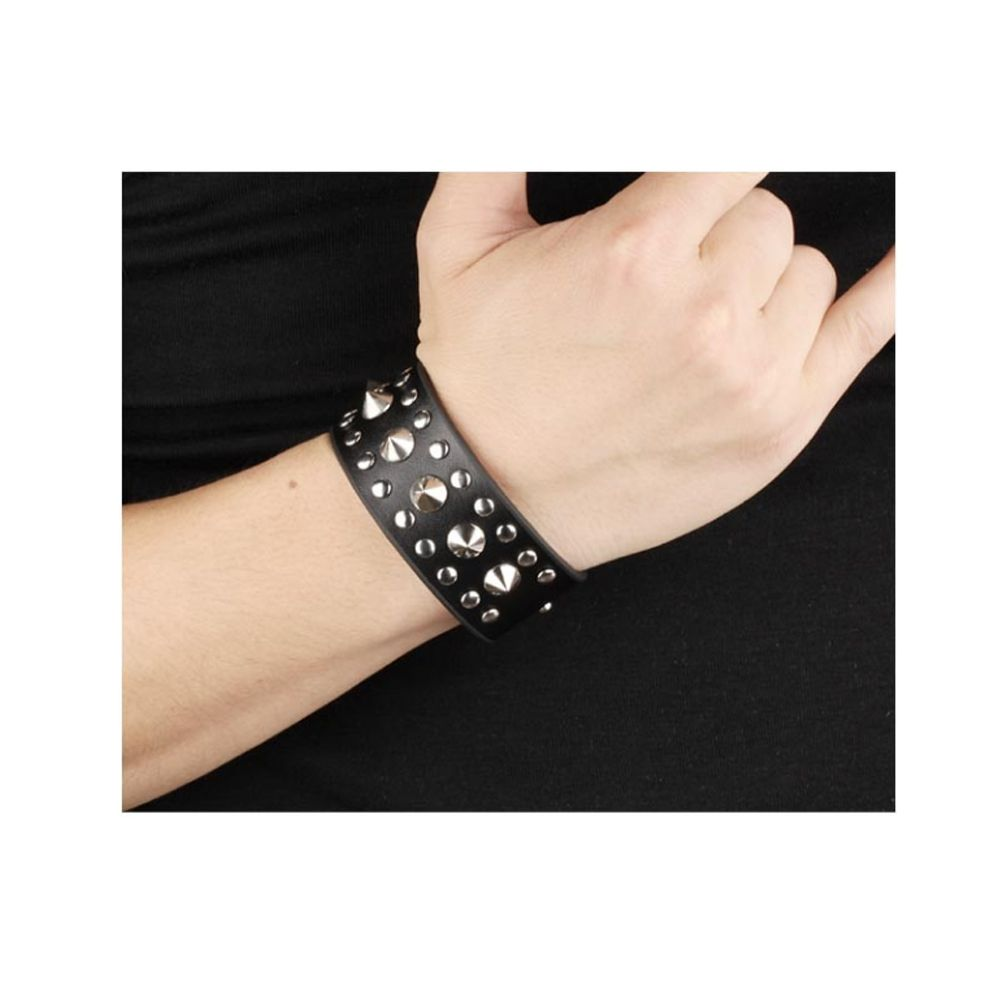 Black Leather and Stainless Steel Punk Man Bracelet