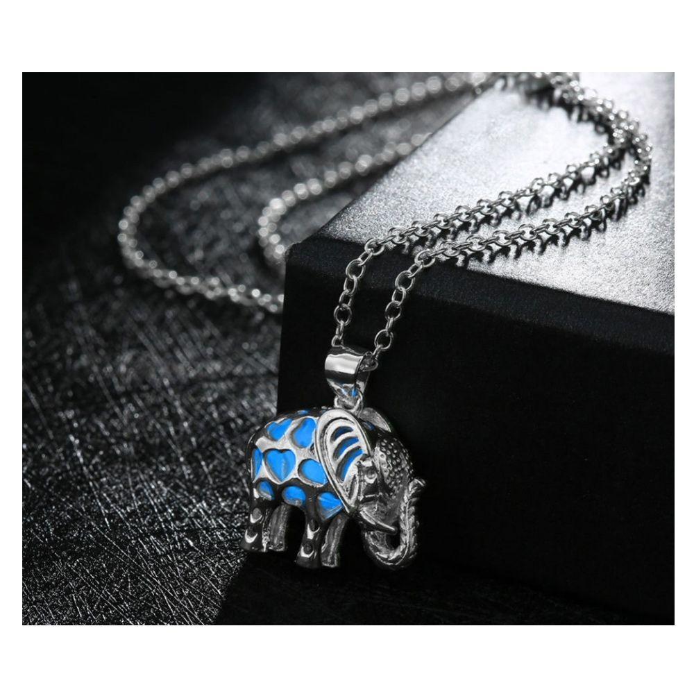 Blue Fluorescent Elephant Pendant