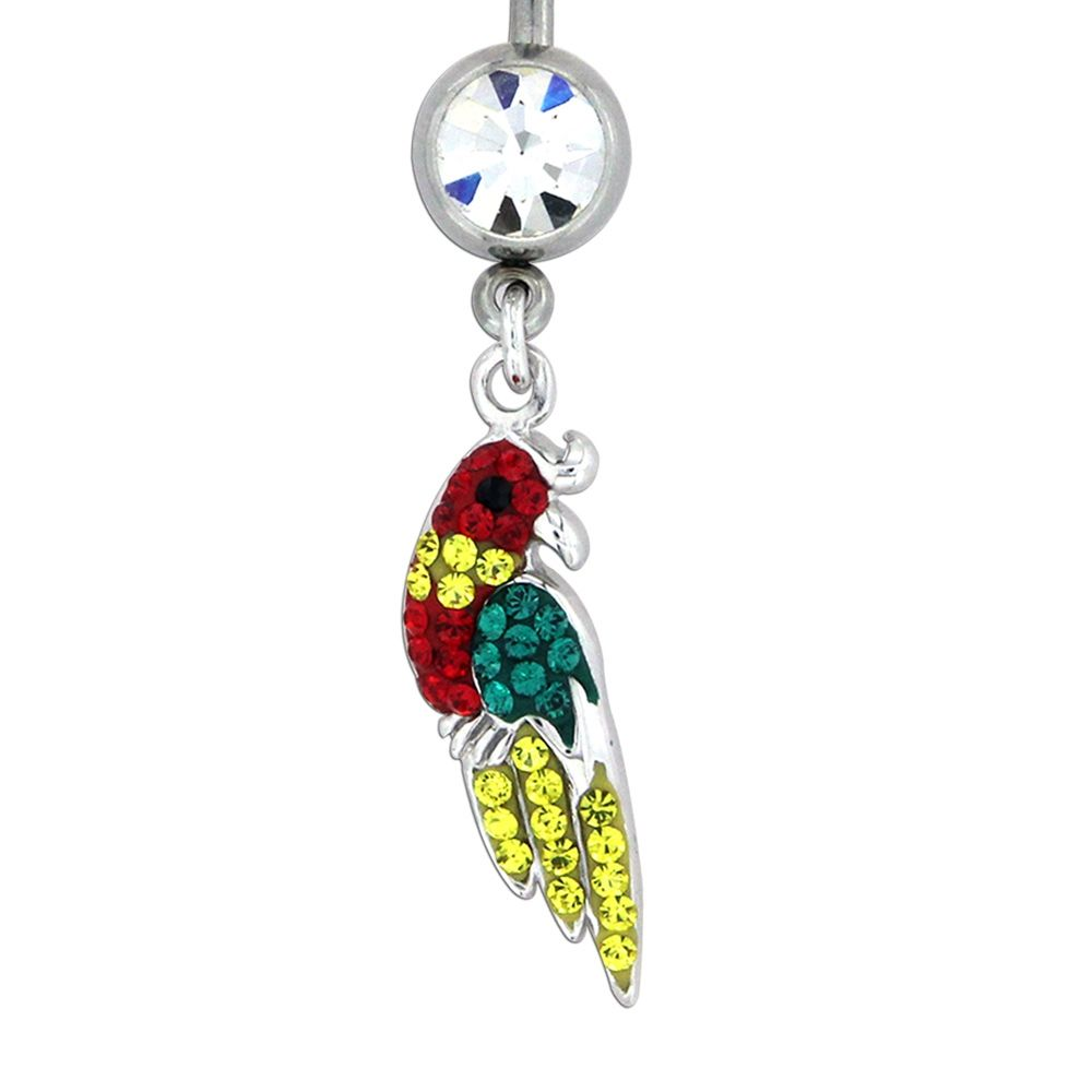 Swarovski - Piercing Parrot in 925 Silver and Swarovski Elements Crystal