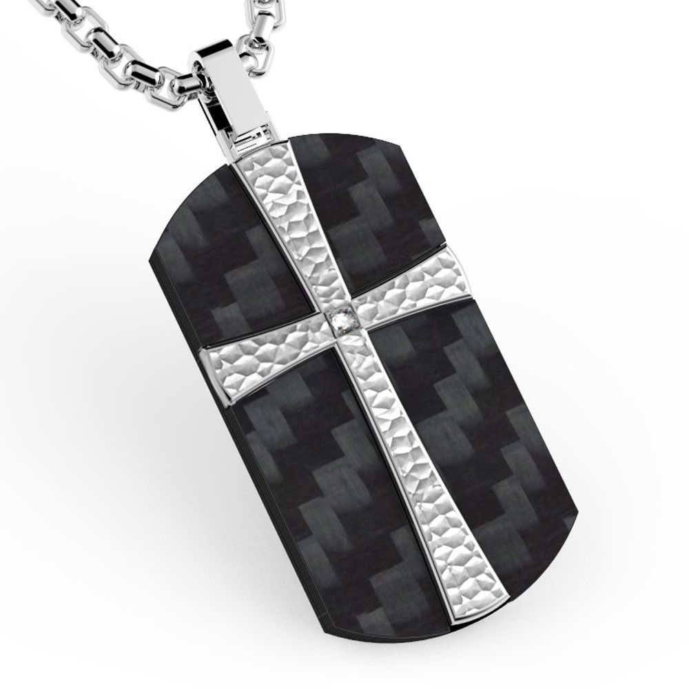 Stainless Cross and Black Carbon and Cubic Zirconia Men Pendant