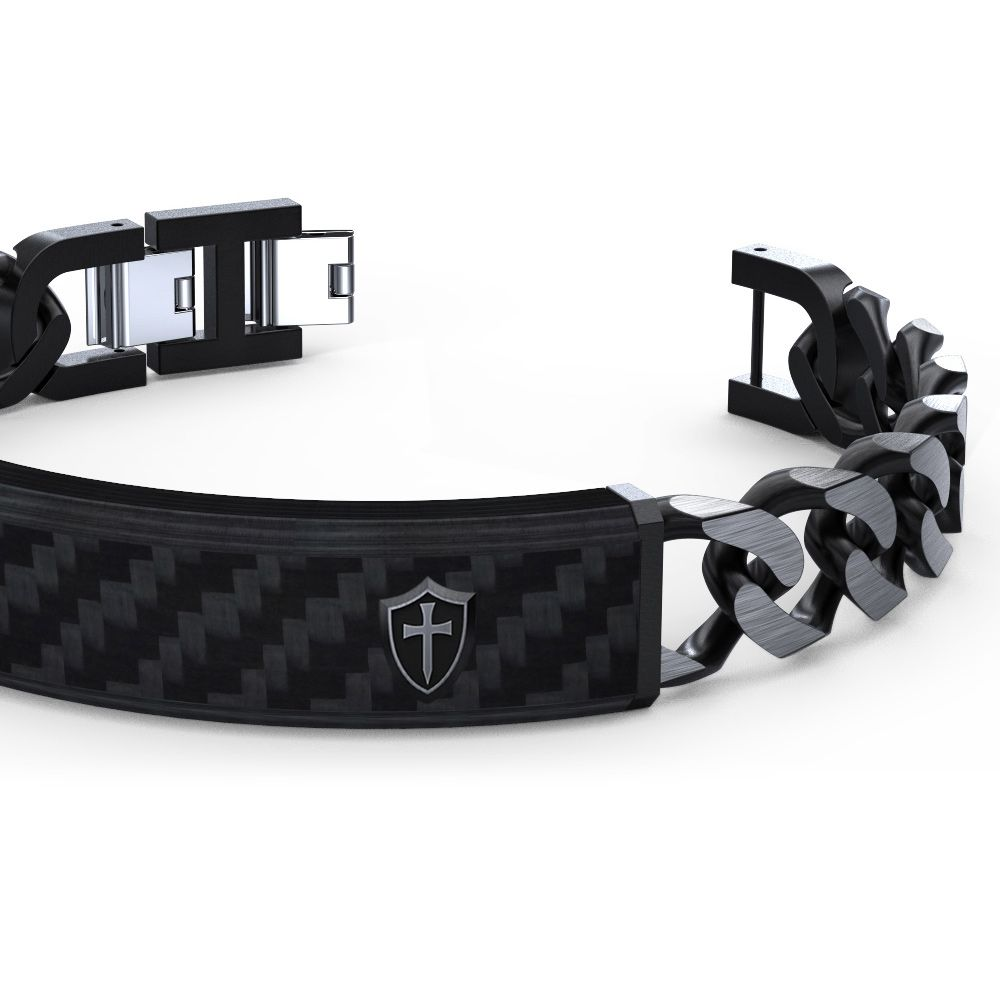 Black Carbon Plate and Links Men Bracelet