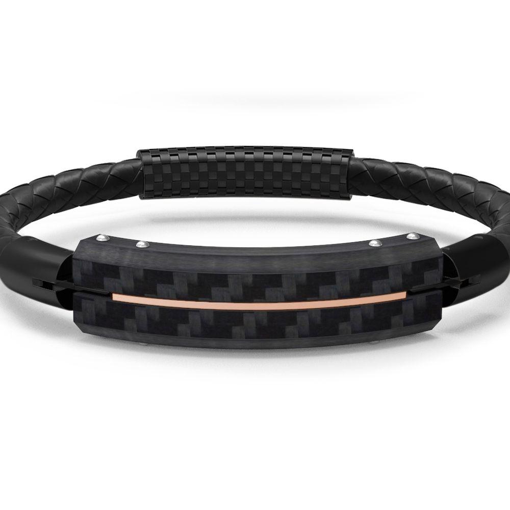 Black leather and carbon plate bracelet