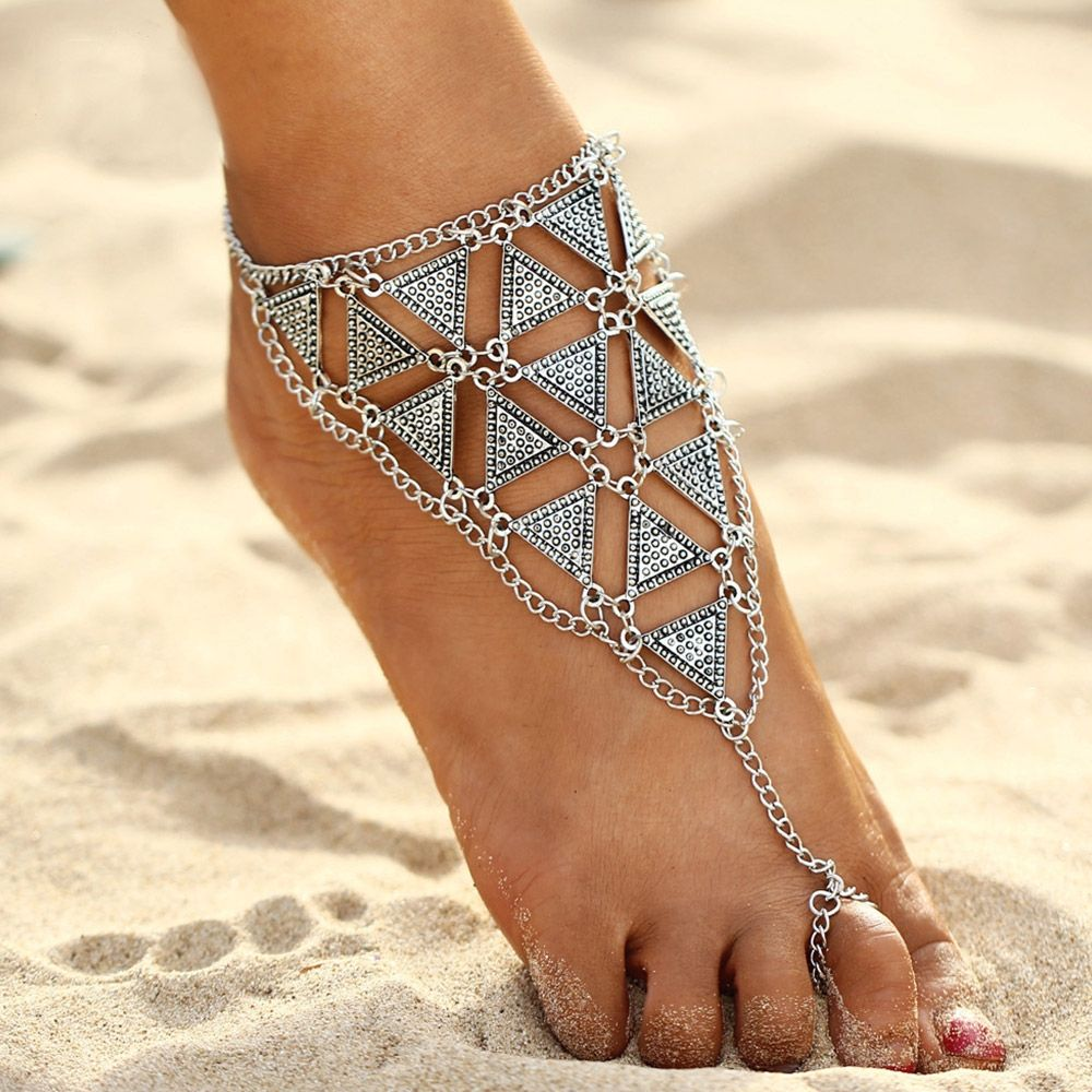 Bohemian Triangle Foot Jewel in Stainless Steel