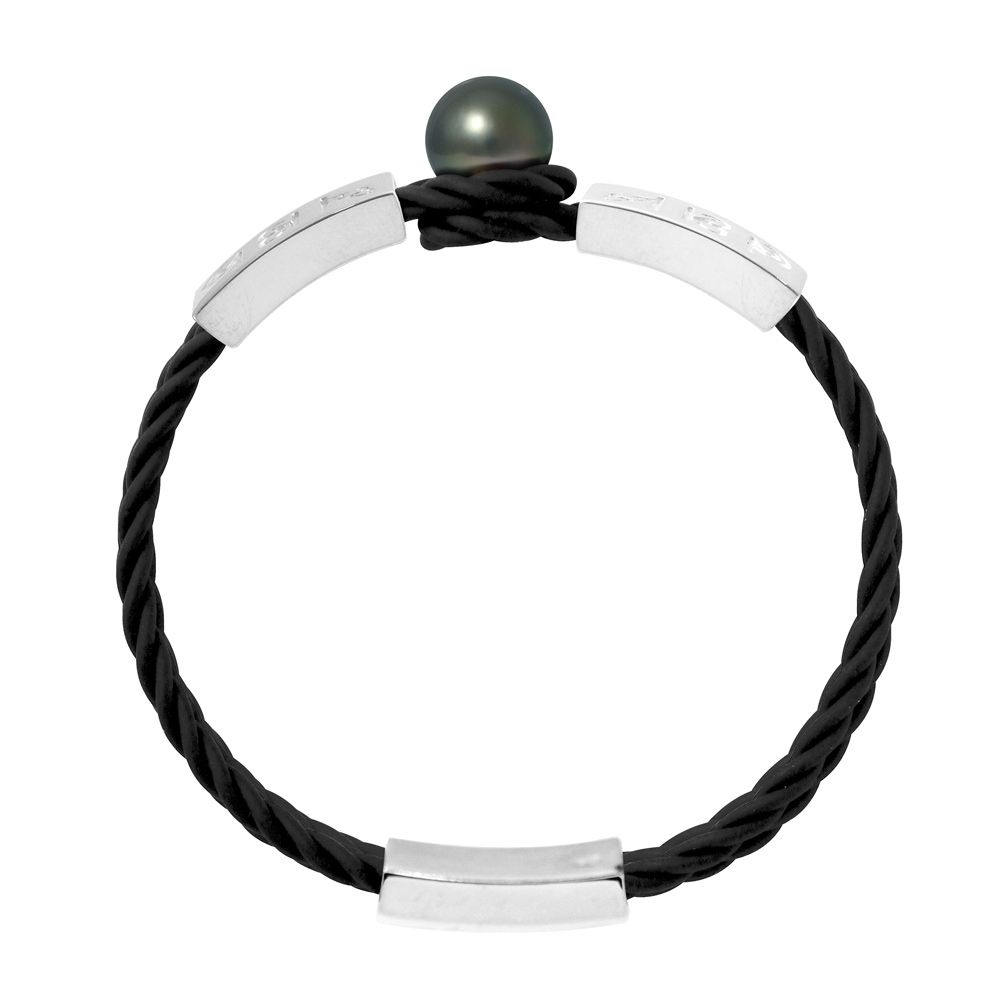 10 mm Black Tahitian Pearl, Black Neoprene Tribal Man-Woman Bracelet and 925 Sterling Silver with Egyptian hieroglyphics