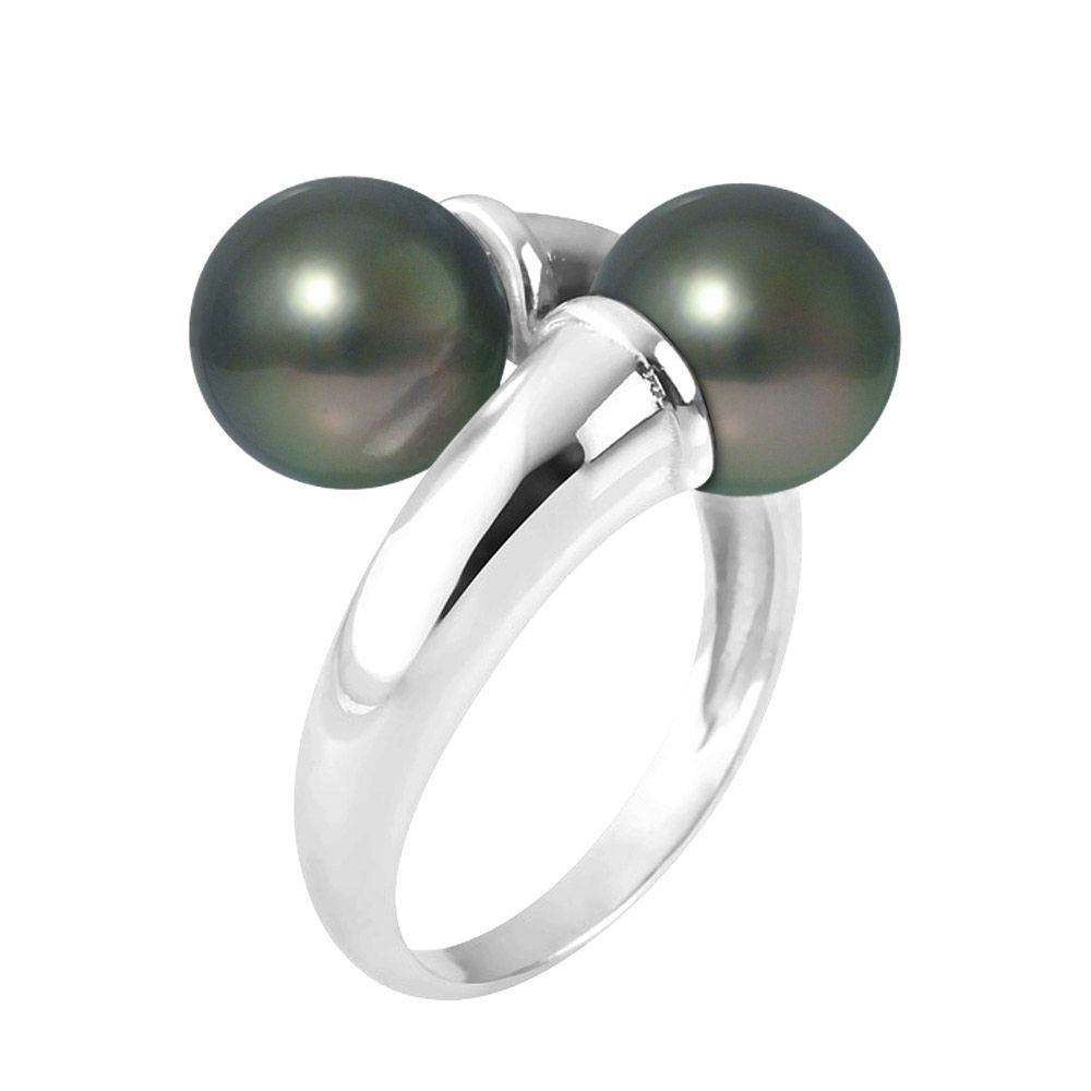 8mm Double Tahitian pearls and 925 sterling silver ring