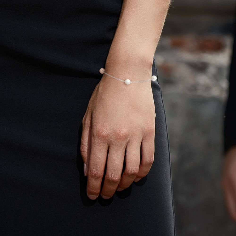 3 AA White Freshwater Pearls Bracelet and 750/1000 White Gold