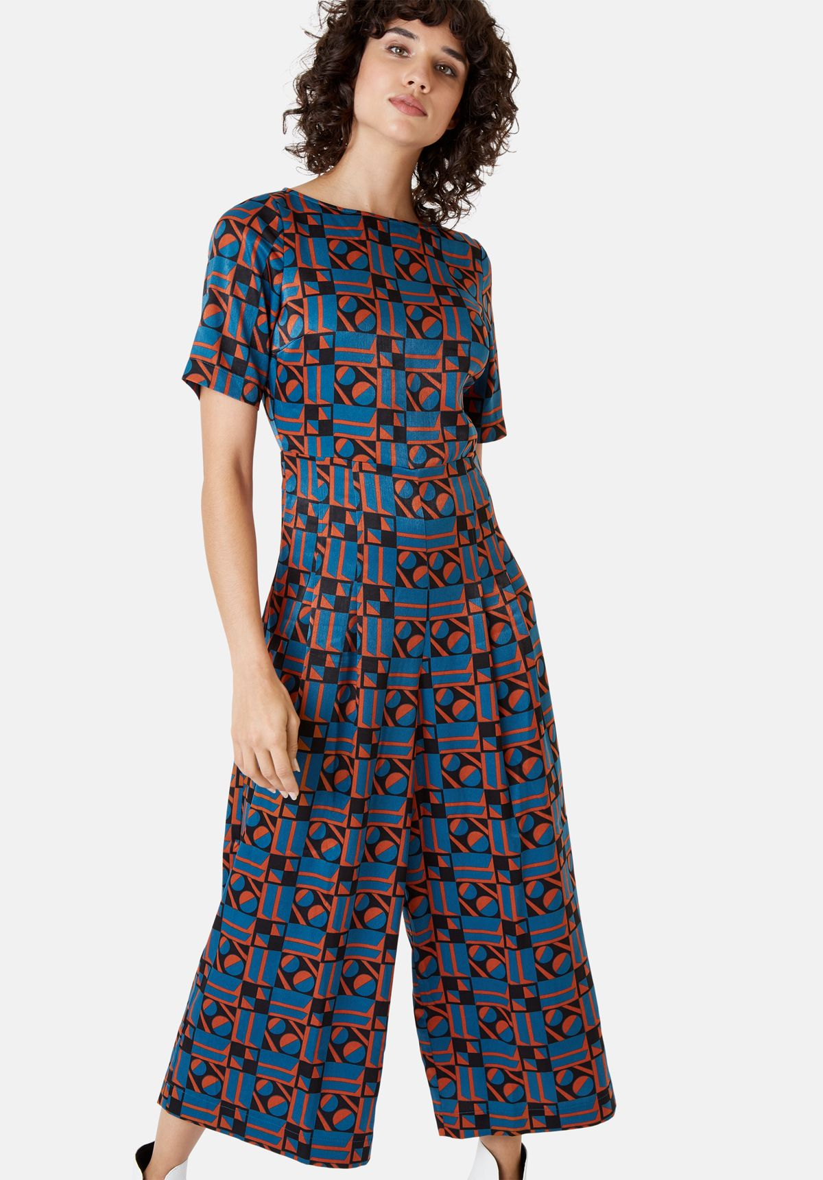 Bianca Short Sleeve Geometric Jumpsuit in Blue and Rust Red