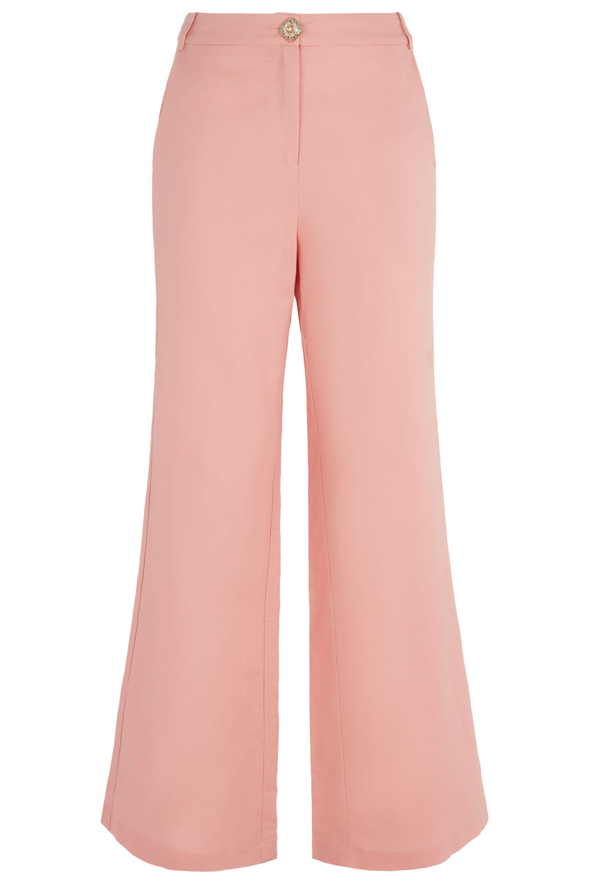 Button Up Flared Trousers in Salmon Pink