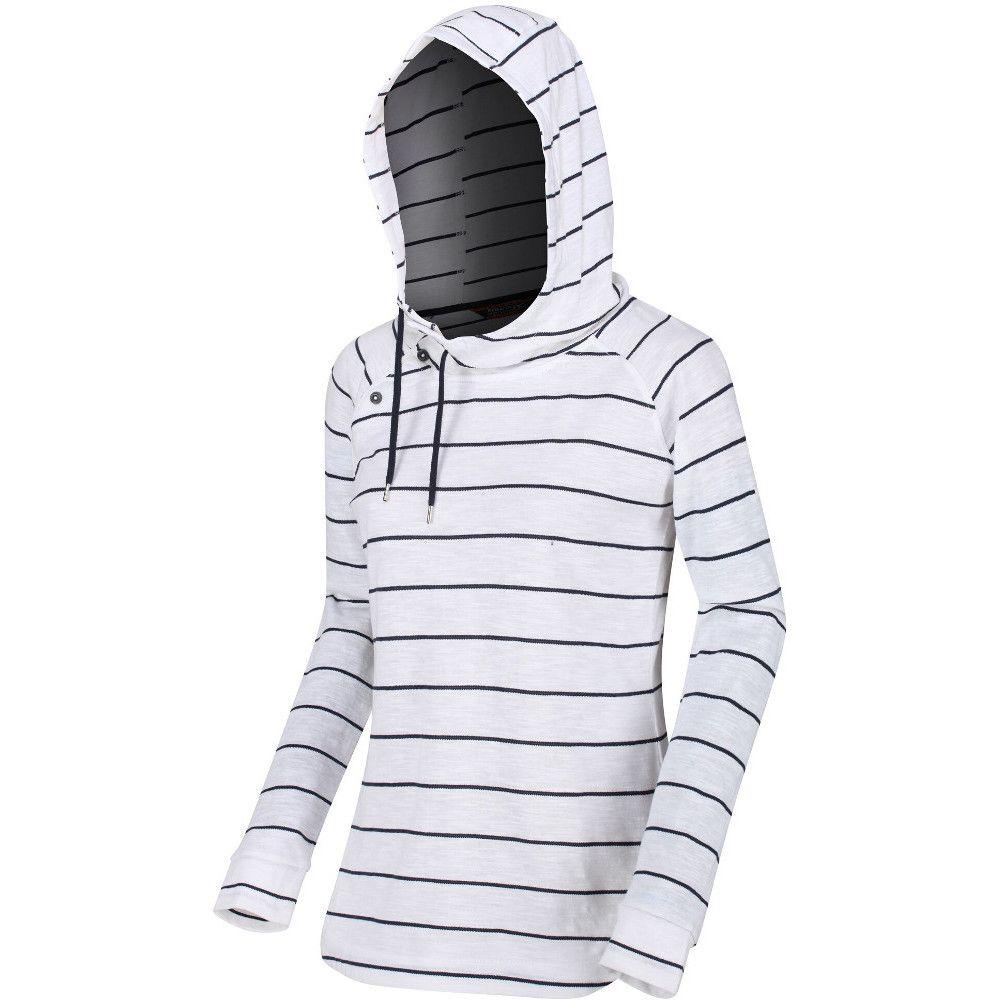 Regatta Womens Merindah Striped Hooded Jersey Hoodie Sweater