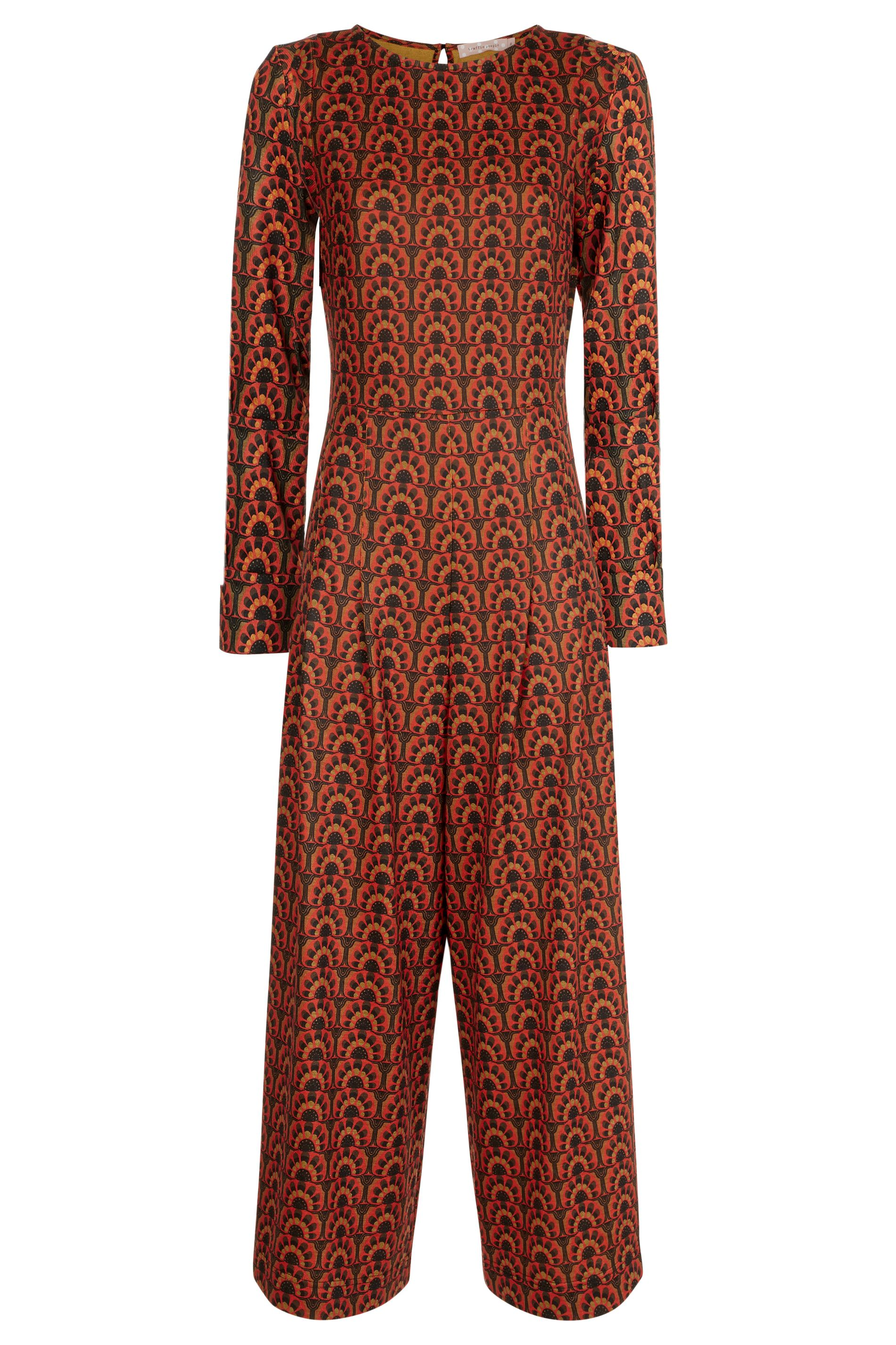 Jagger Printed Long Sleeve Jumpsuit in Orange and Green