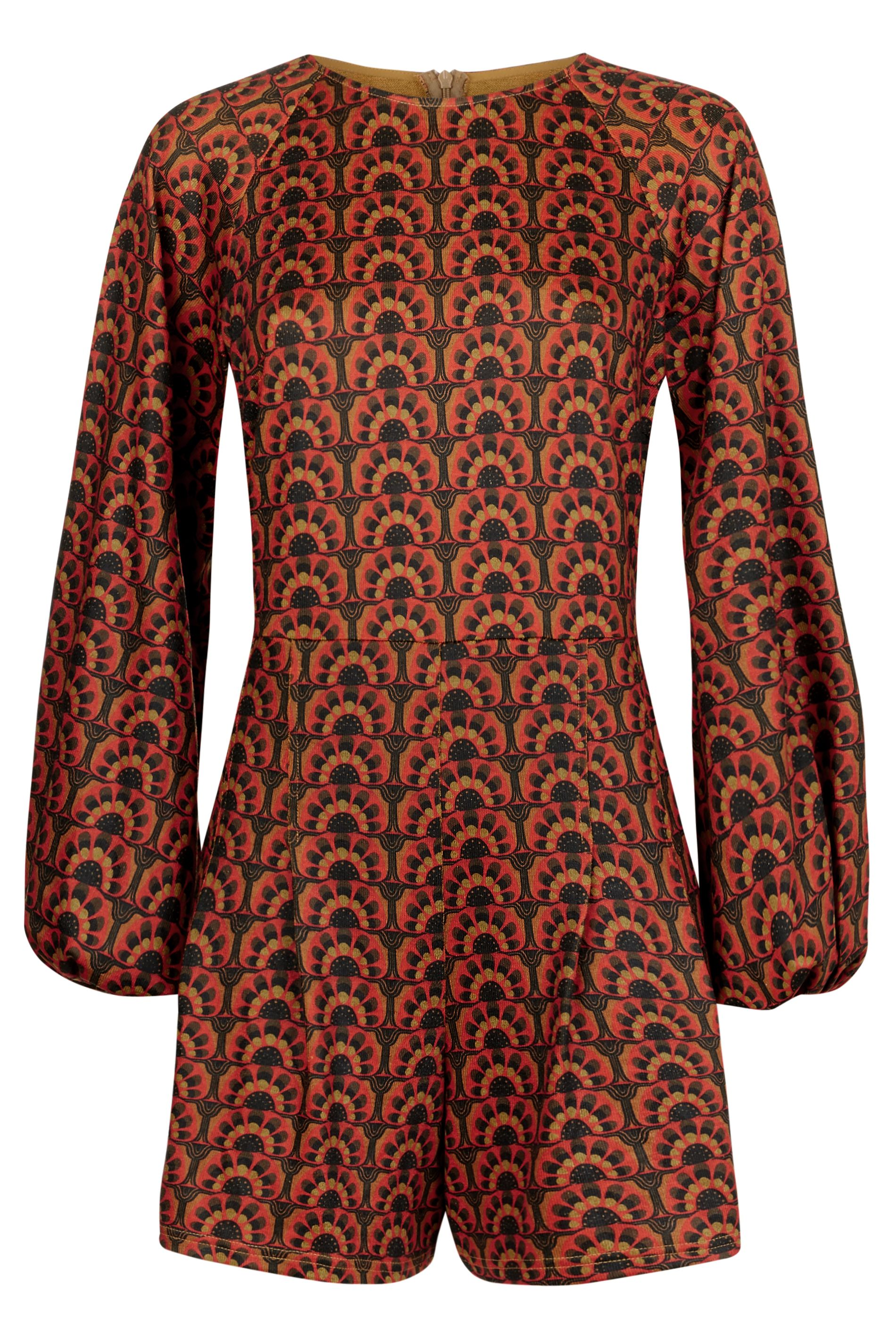 Bambi Tile Print Jersey Playsuit in Orange and Green