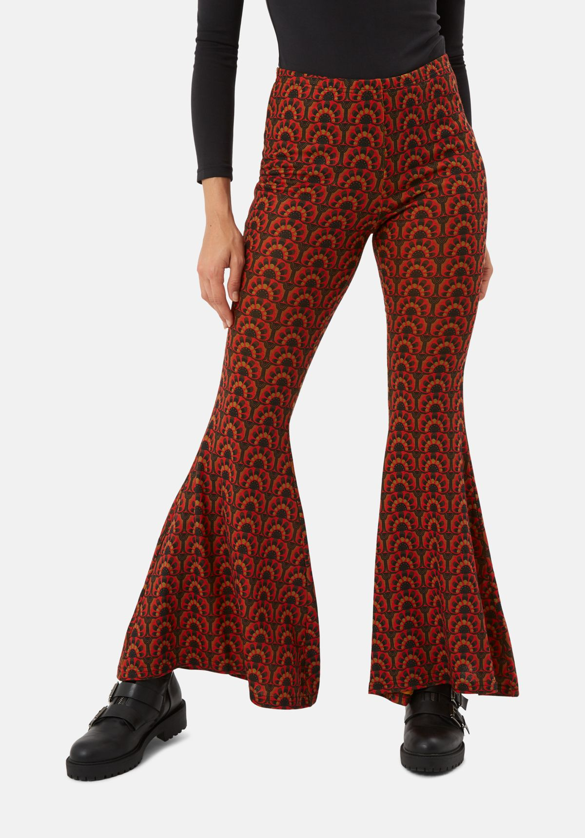Flaunt and Flared Printed Trousers in Red