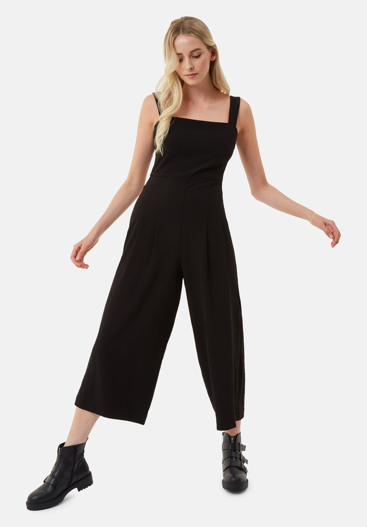 Snow Drift Dungarees Jumpsuit in Black