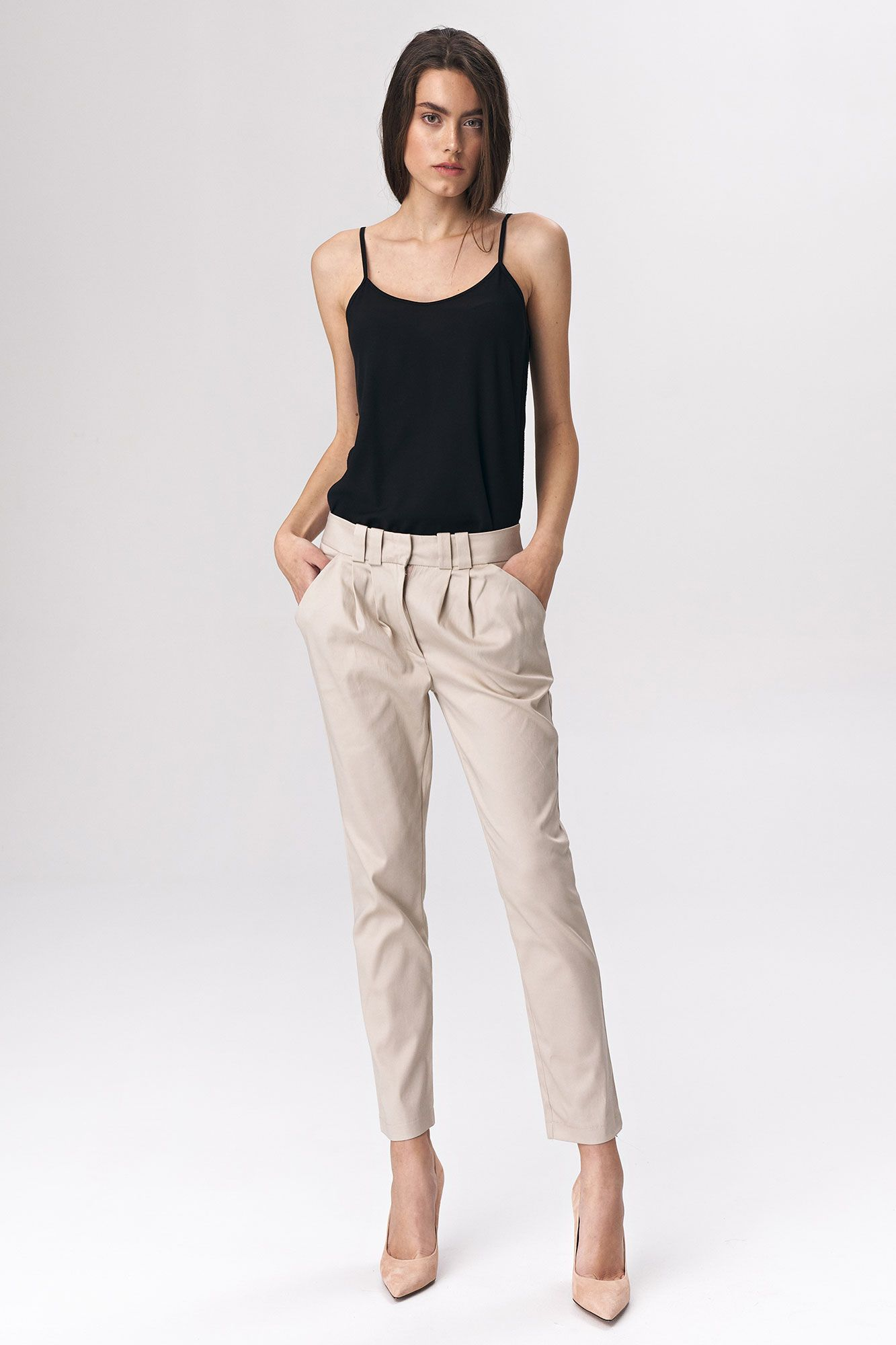 Fitted womens trousers - beige