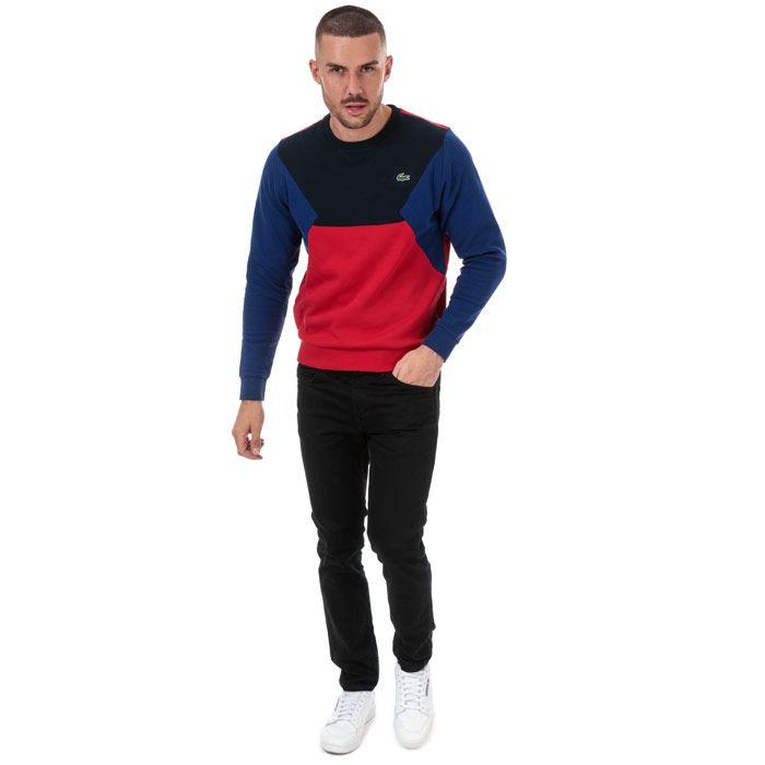 Men's Lacoste Colourblock Cotton Fleece Sweatshirt in blue navy