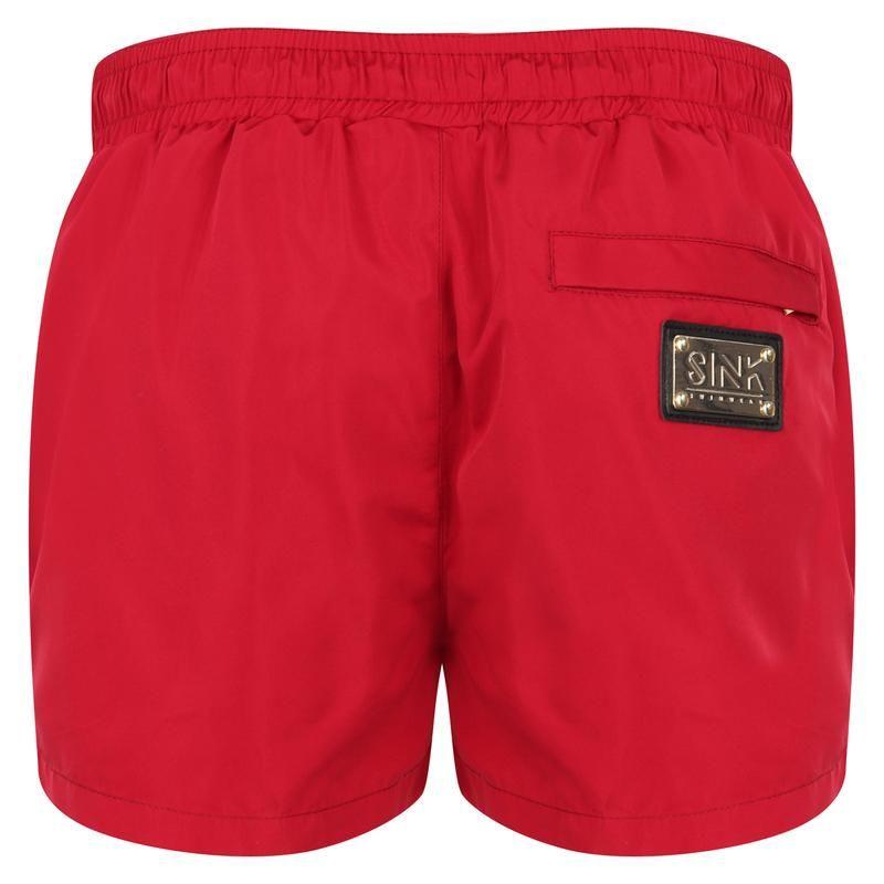 Signature Bermuda Red Swim Shorts with Gold Detailing