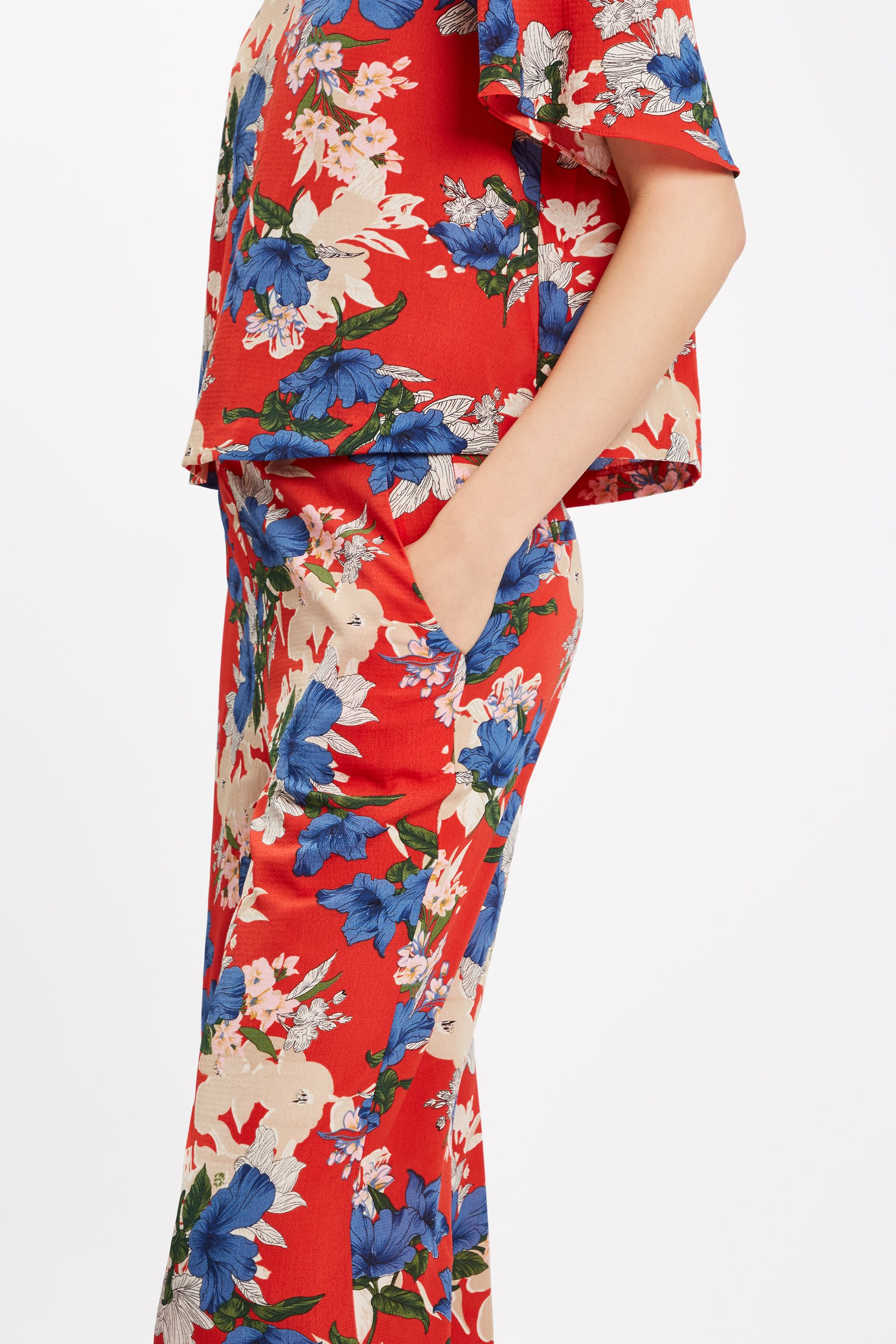 SING Floral Red Wide Leg Trousers