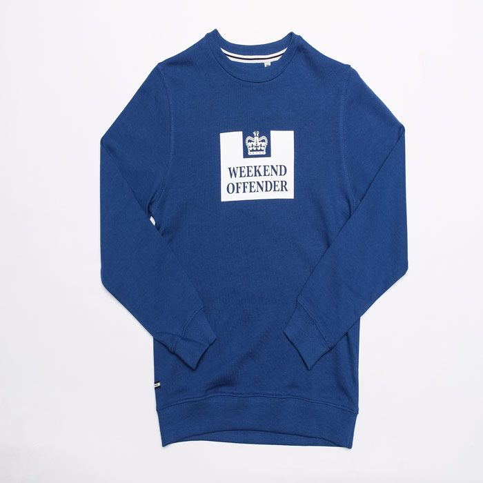 Boy's Weekend Offender Junior Penitentiary Crew Swetshirt in Blue