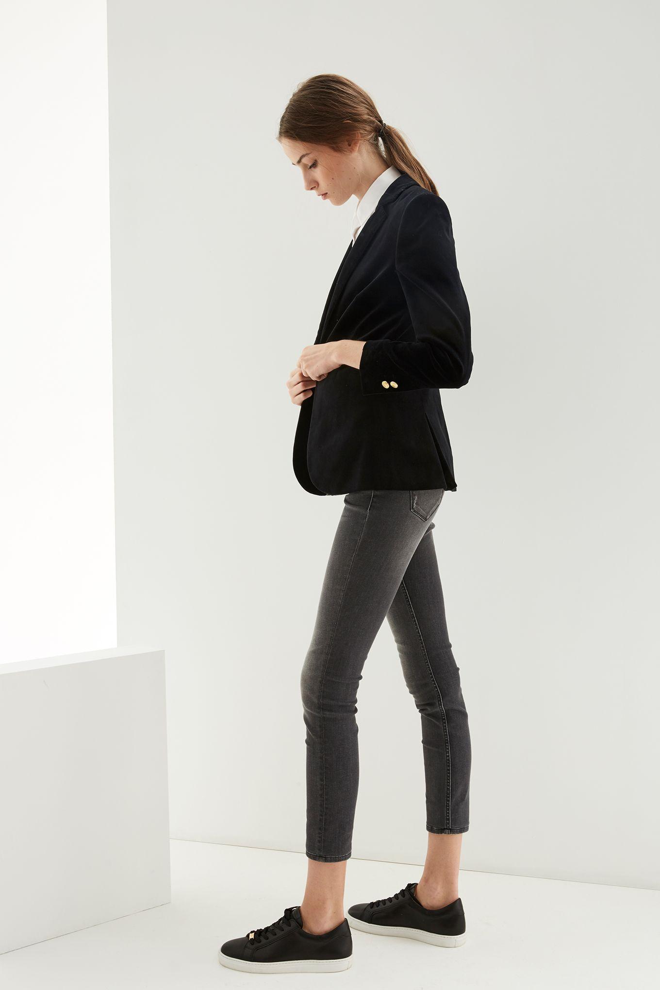 Womens black velvet blazer