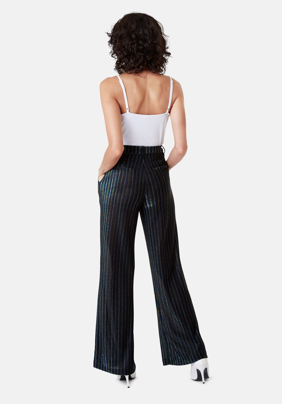 Metallic Stripe Straight Leg Trousers in Blue