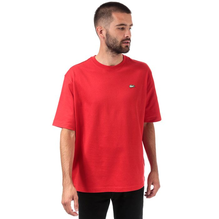 Men's Lacoste Loose Cotton T-Shirt in Red