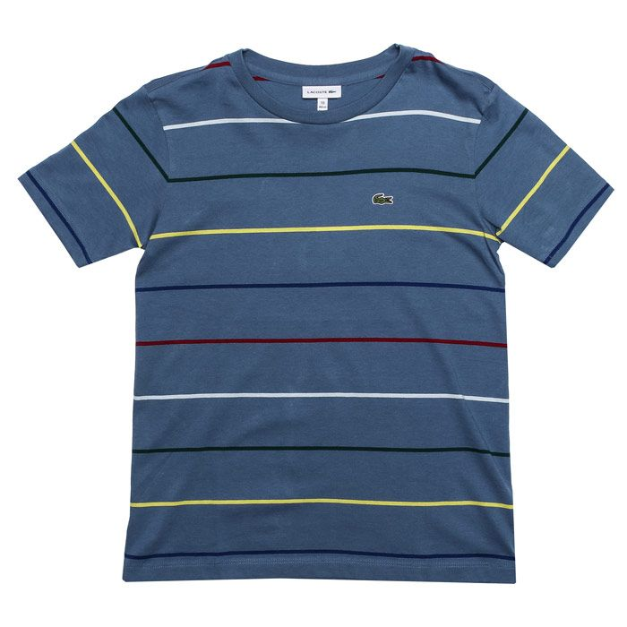 Boy's Lacoste Junior Striped T-Shirt in Blue