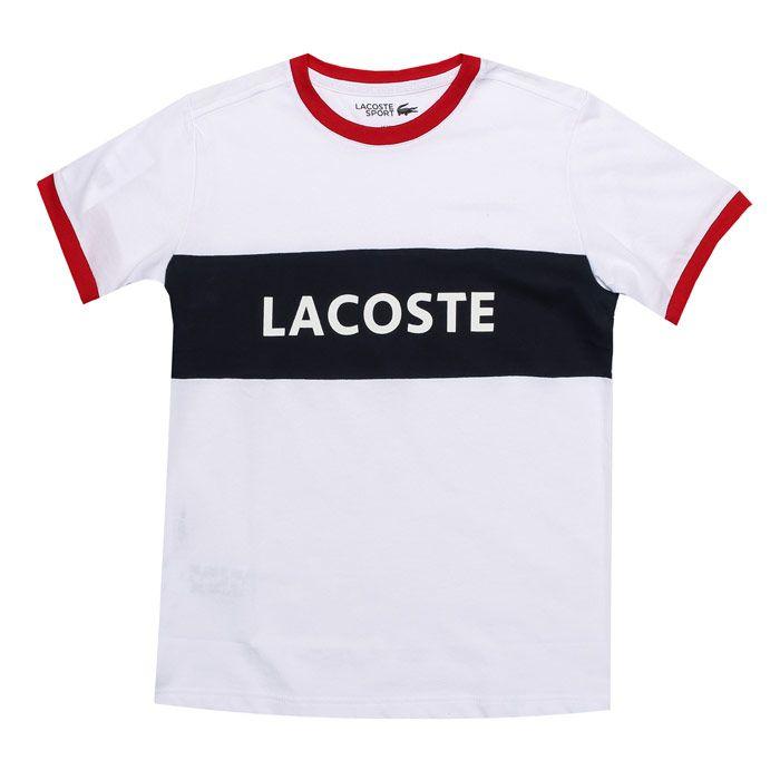 Boy's Lacoste Junior Sport Panel T-Shirt in White