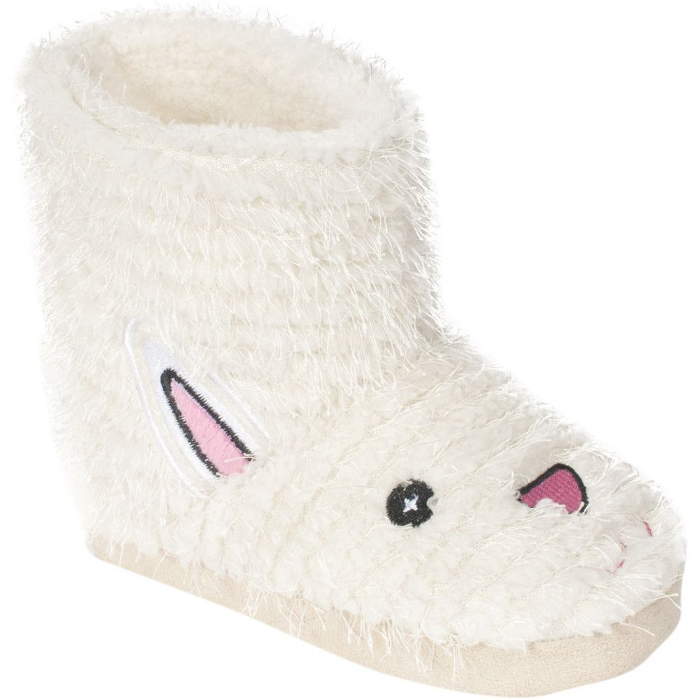 Trespass Girls Hoppity Bunny Rabbit Faux Fur Booty Slippers