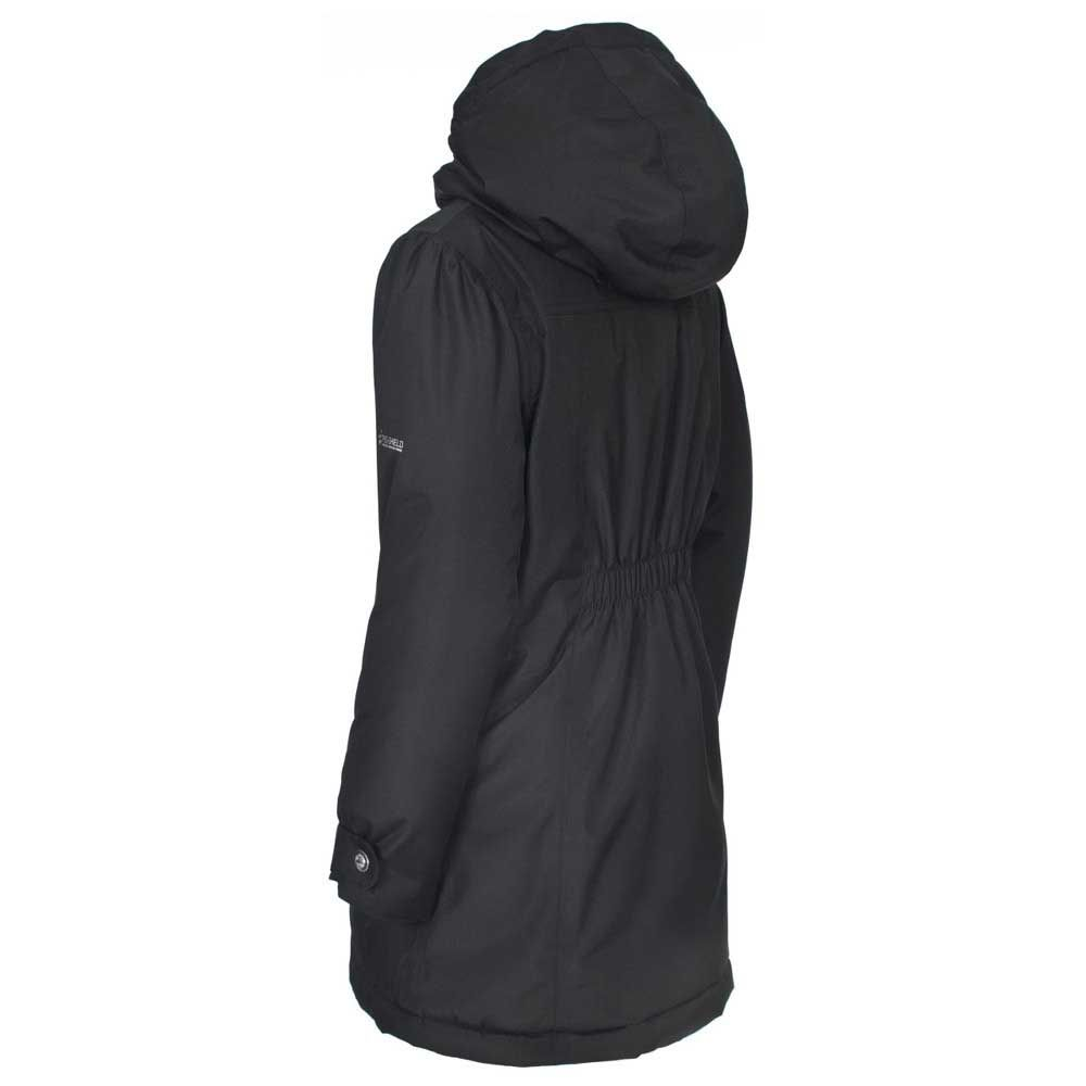 Trespass Girls Vee Waterproof Padded Fleece Lined Jacket Black