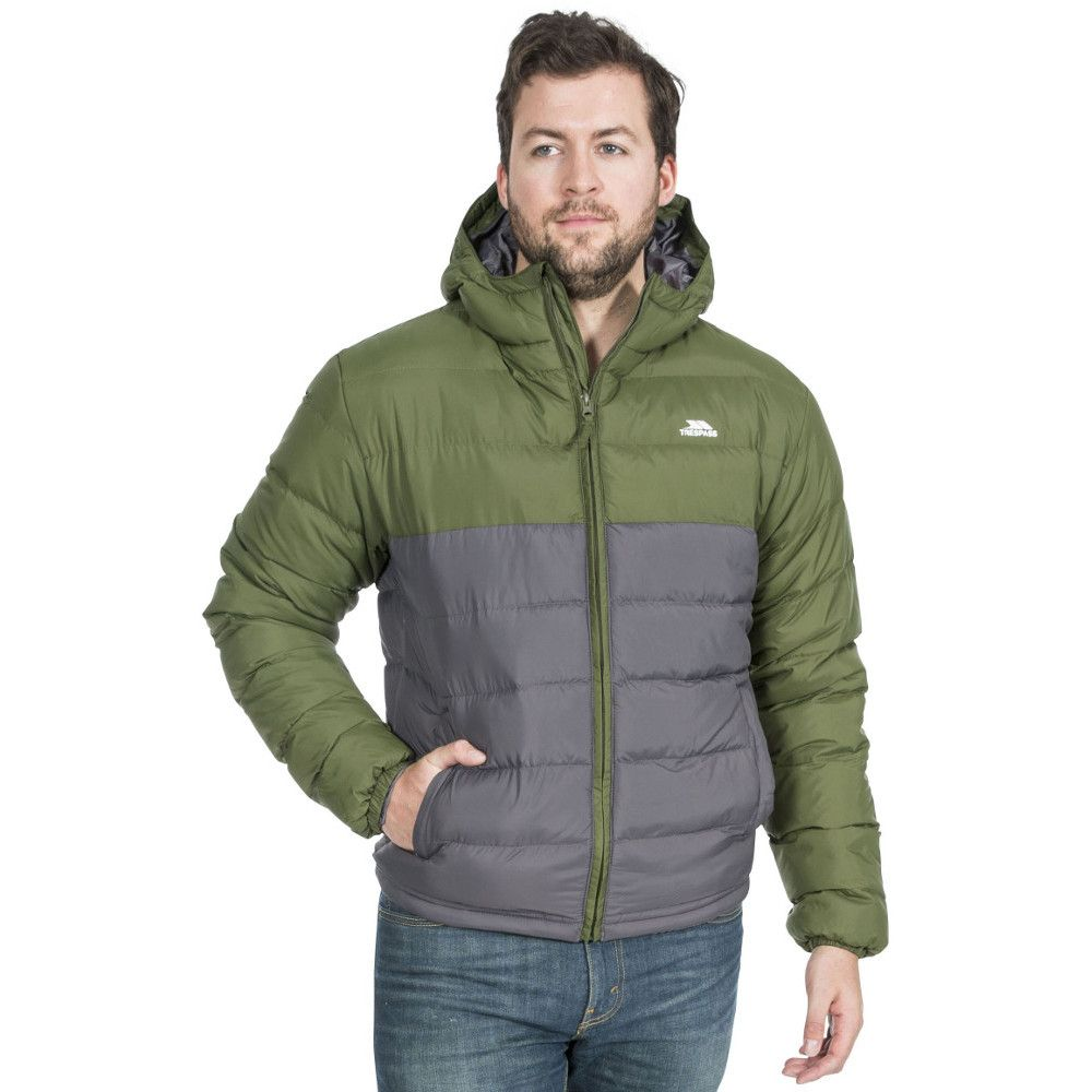 Trespass Mens Oskar Insulated Padded Quilted Hooded Jacket
