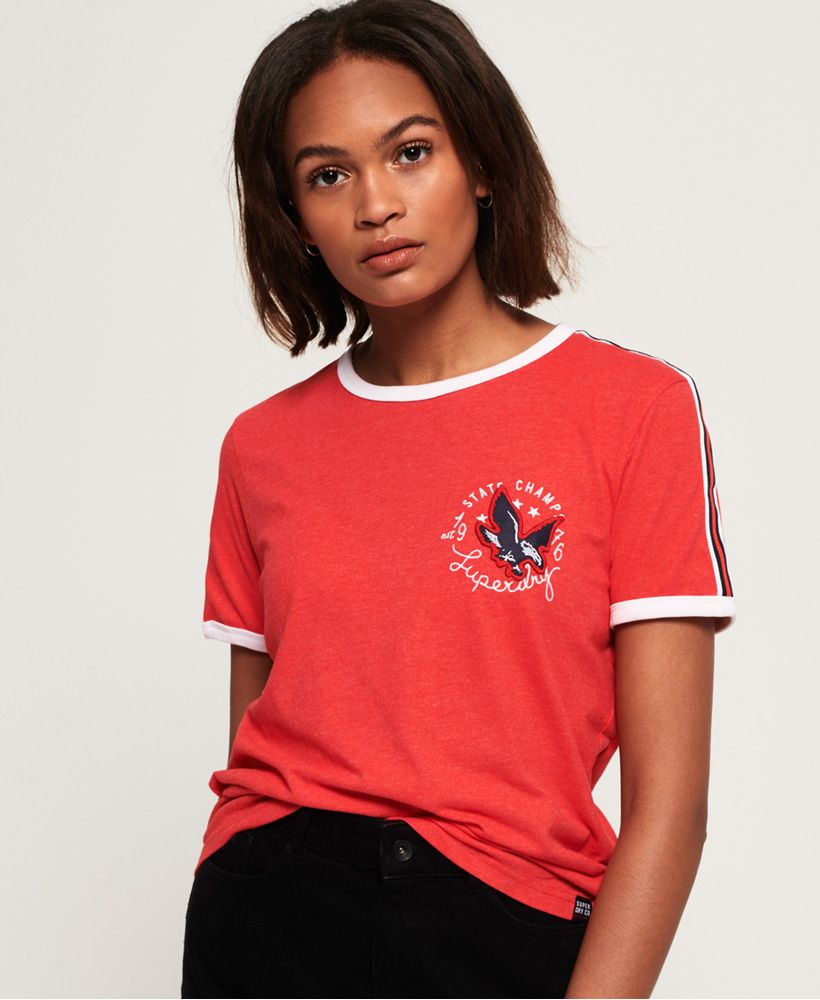 Superdry Eagle Champs Embroidery Ringer Boxy T-Shirt