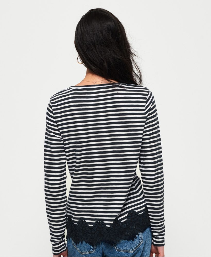 Superdry Stripe Lace Graphic Top