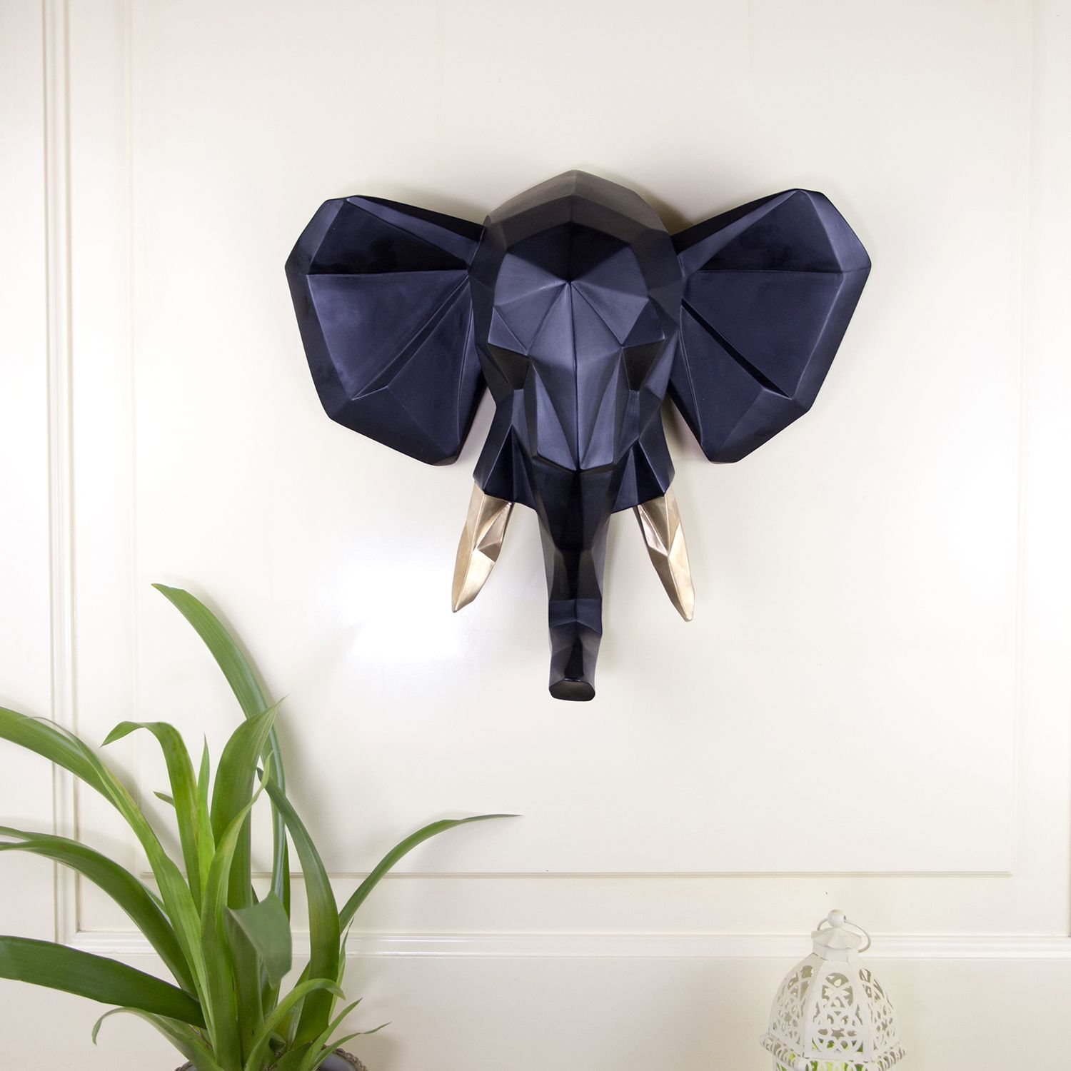 Contemporary Faux Taxidermy Black Gold Geometric Elephant Wall Mount Sculpture Art Decorations Home Idea