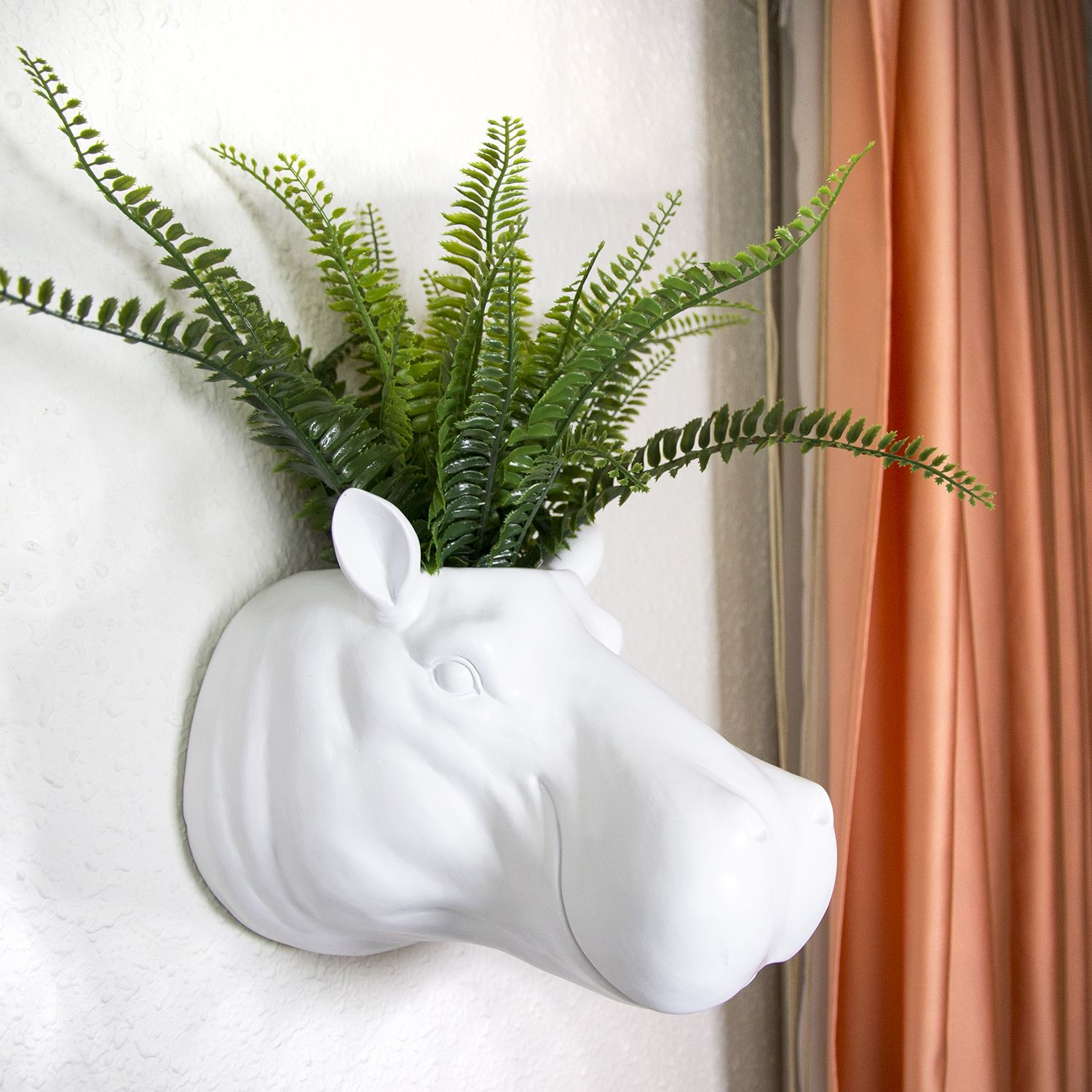 2 in 1 White Faux Taxidermy Hippo Flower Pot Wall Hanging Plant Pot Home Garden Decoration