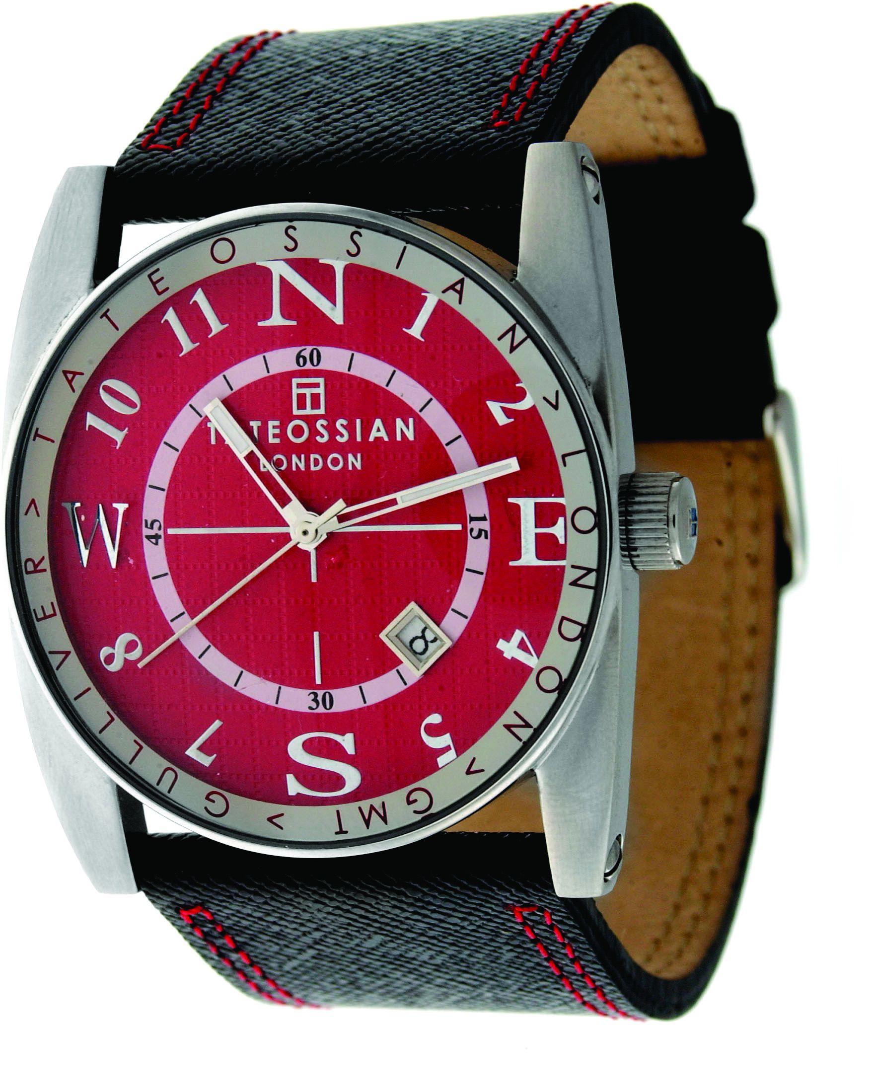 Stain Steel Leather Red Round Gulliver Sports Watch
