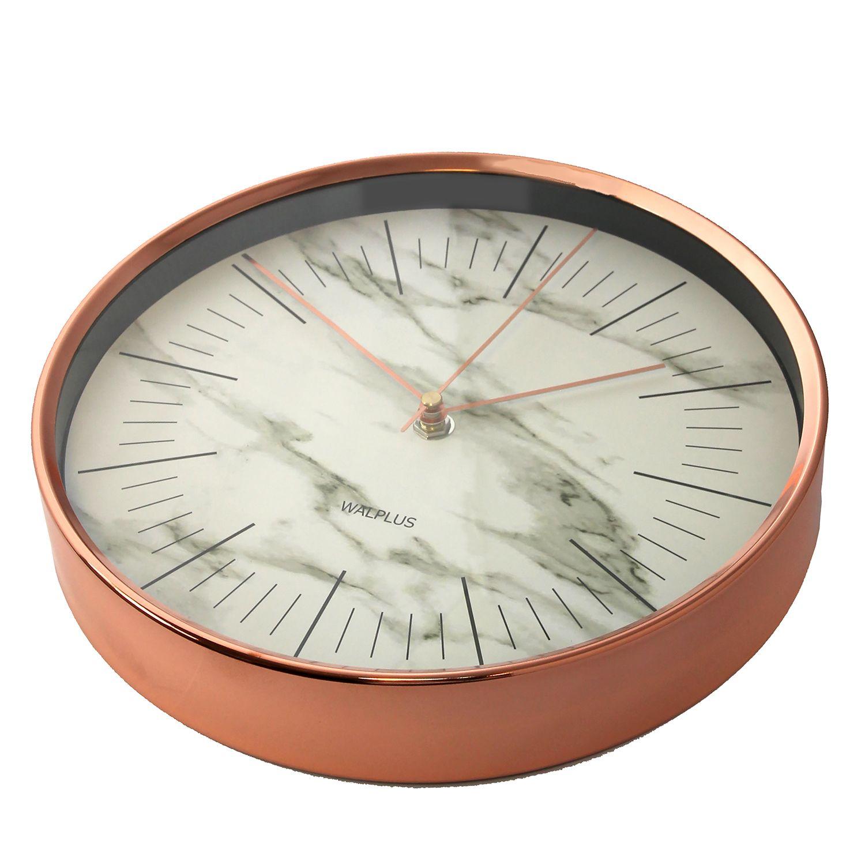 Walplus Glory Time Marble effect Rose Gold Metal 26cm Wall Clock