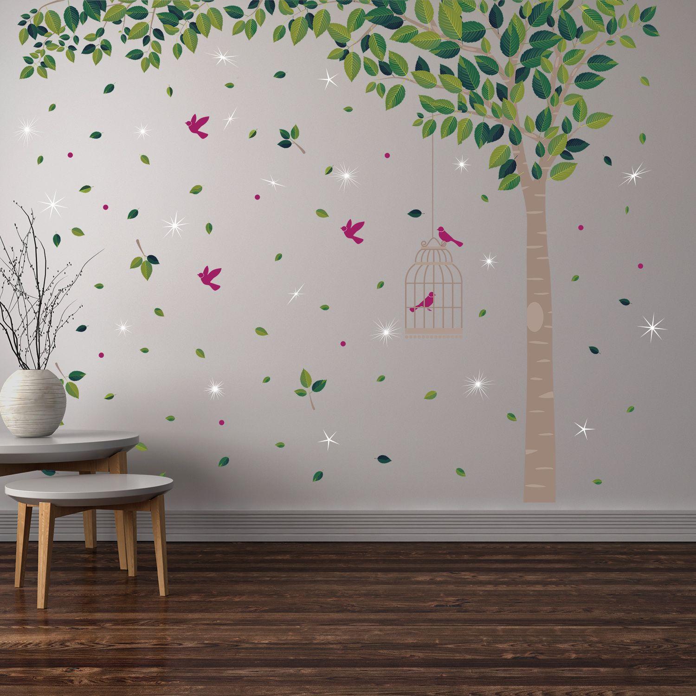 Wall Sticker Decal Green Tree with Swarovski Crystals