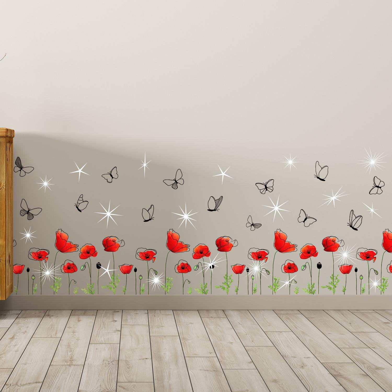 Walplus Wall Sticker Red Poppy with Swarovski Crystals