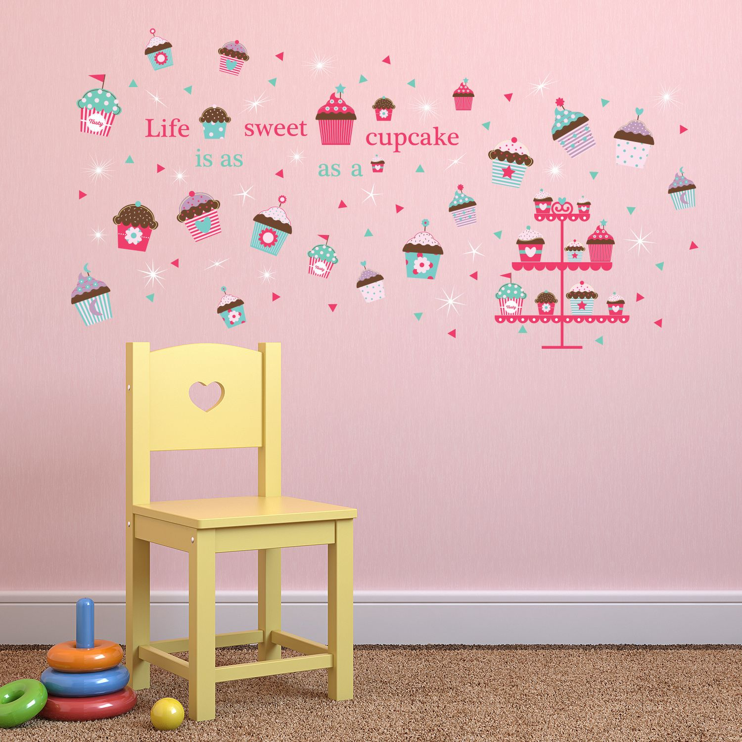 Walplus Wall Sticker Pink Cup Cake Quote Self-adhesive Art Decal Decoration with Swarovski Crystals