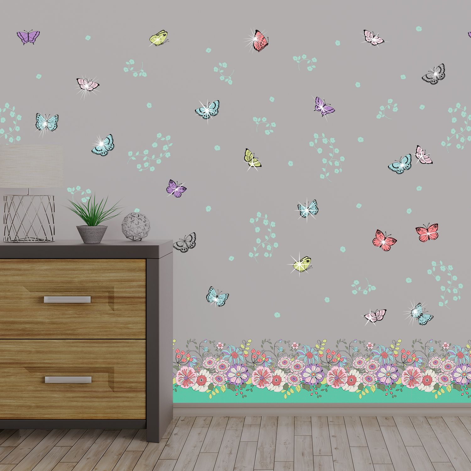 Walplus Wall Sticker Colourful Butterfly Skirting Pack Art Decal Decoration with Swarovski Crystals