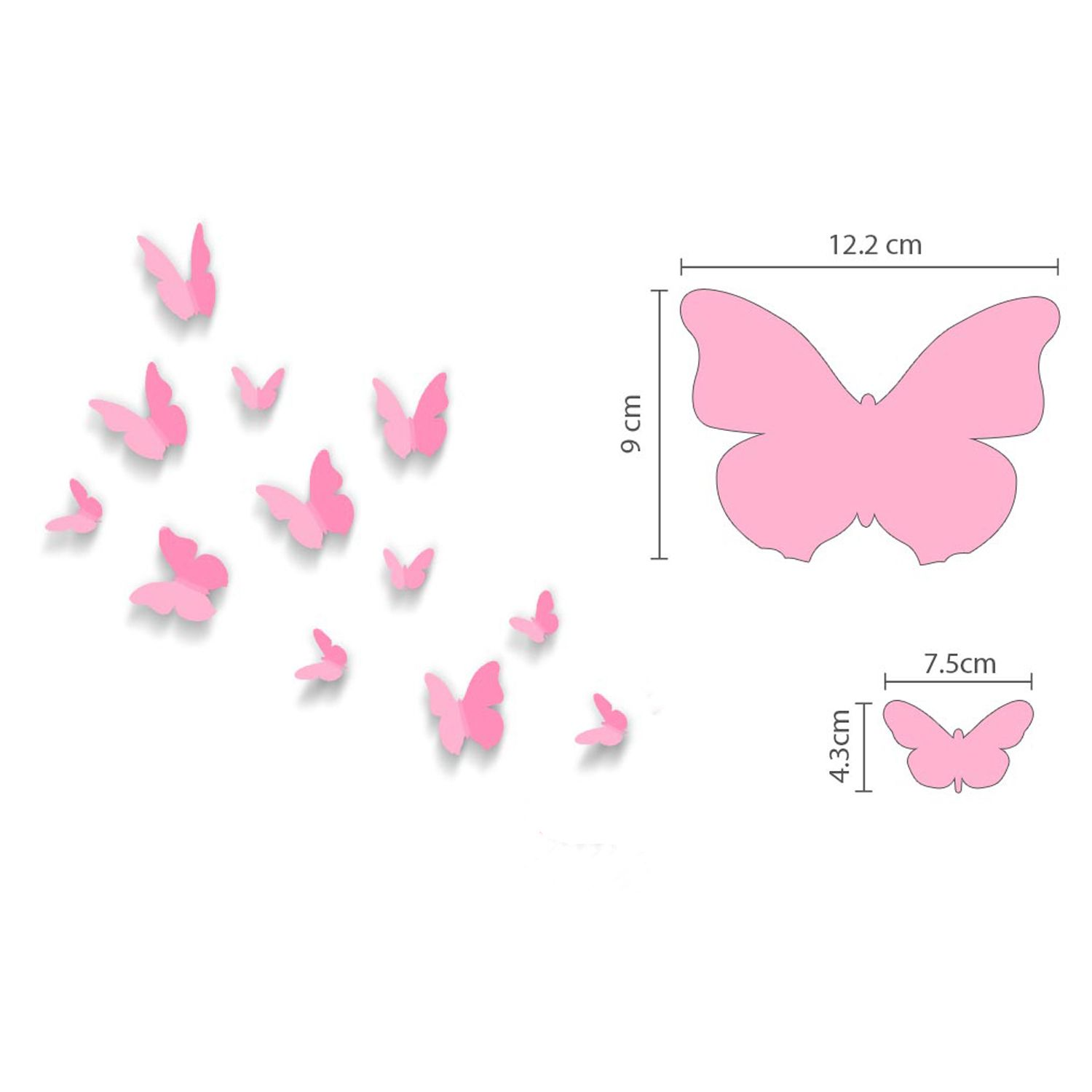 3D Butterfly Pink and Swarovski 2.9mm Clear Crystals Wall Sticker