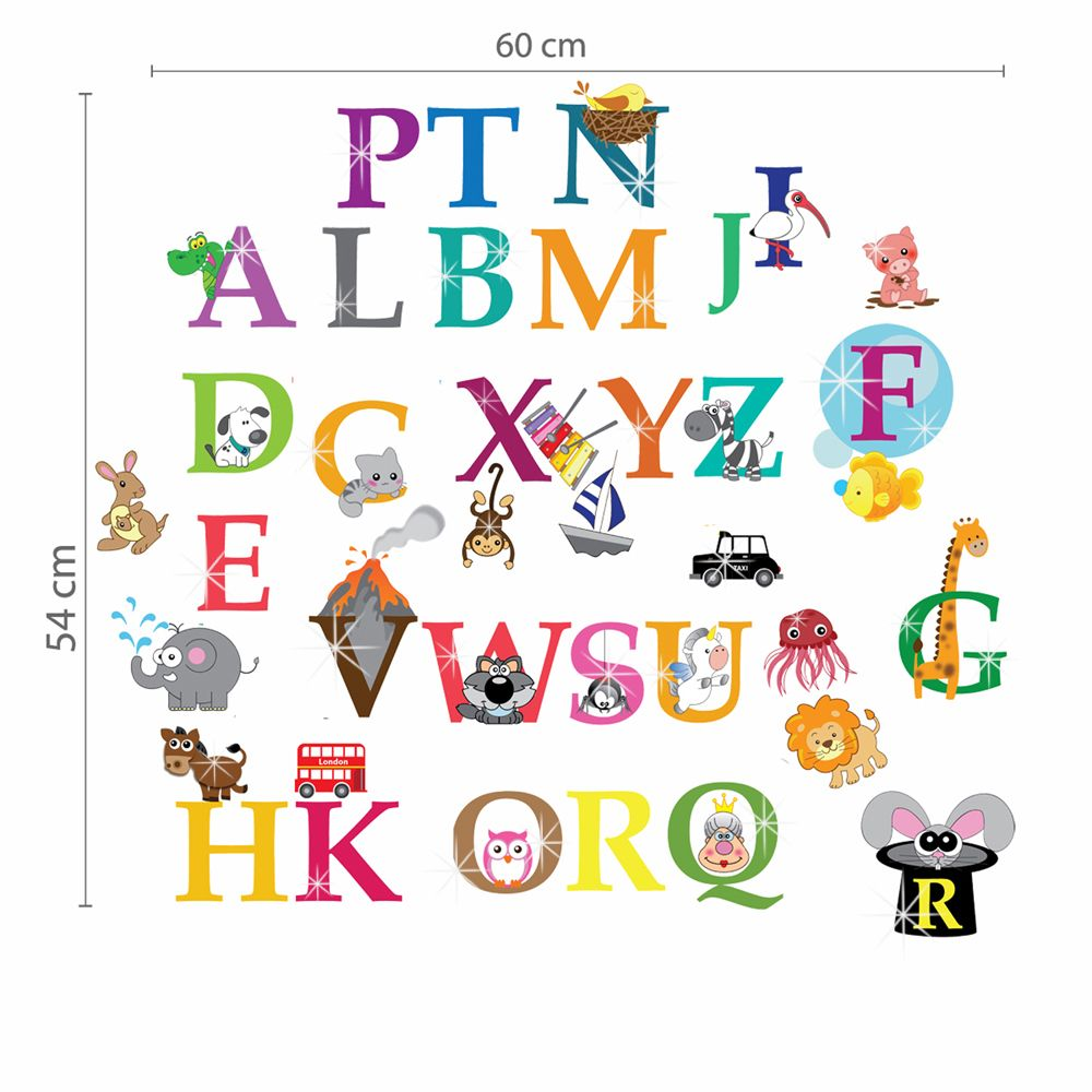 Greer Alphabet and Swarovski 2.9mm Clear Crystals Wall Sticker