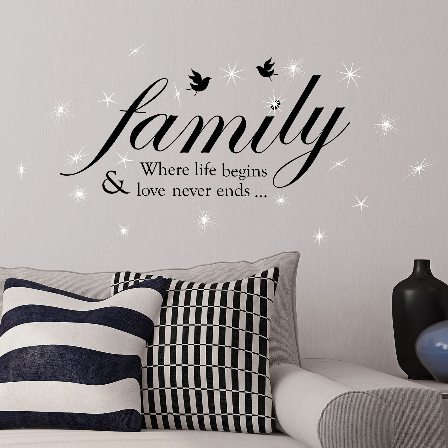 Walplus Wall Sticker Decal Family Quote with Swarovski Crystals