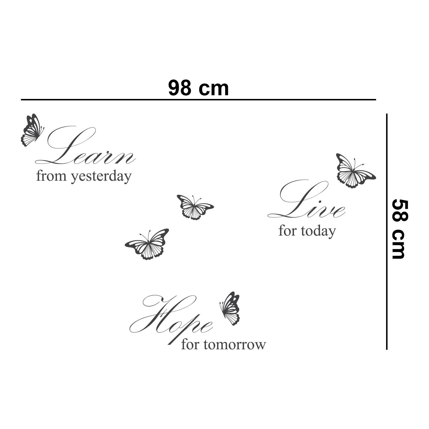Walplus Wall Sticker Grey Learn Live Hope English Quote Decals Art Decoration with Swarovski Crystals