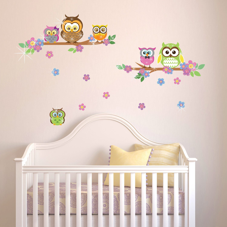 Walplus Wall Sticker Owl Flower Tree with Swarovski Crystals