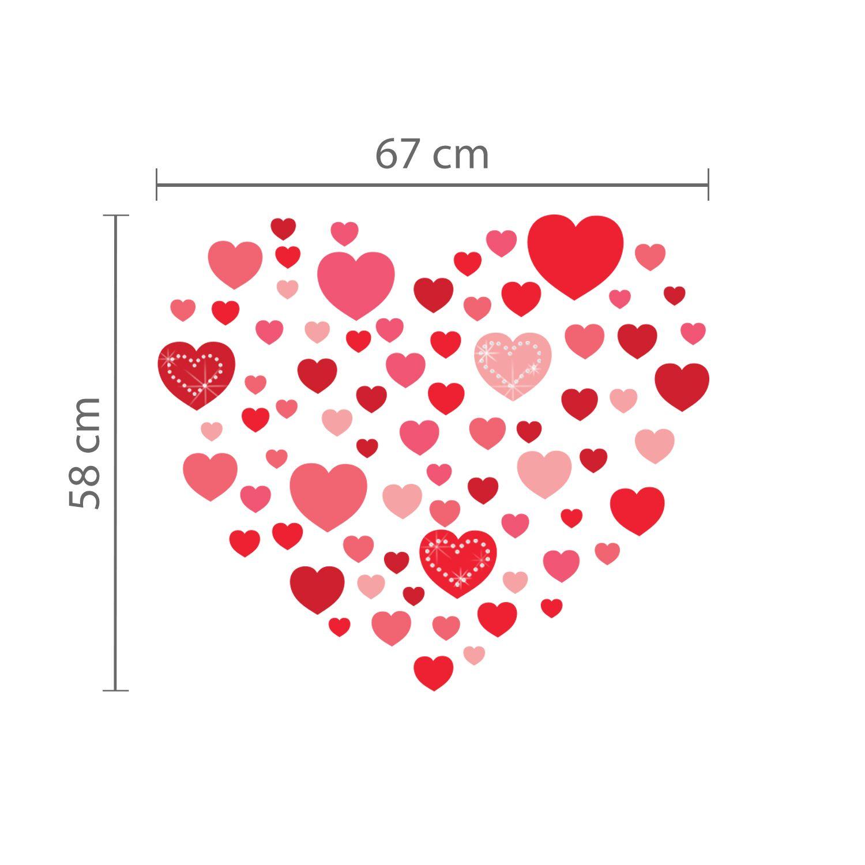 Hearts and White Swarovski Hearts Wall Sticker