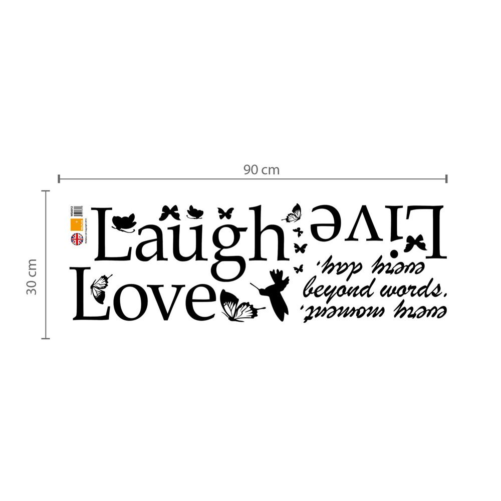 Wall Sticker Decal Classic Live Laugh Love Quote with Swarovski Crystals