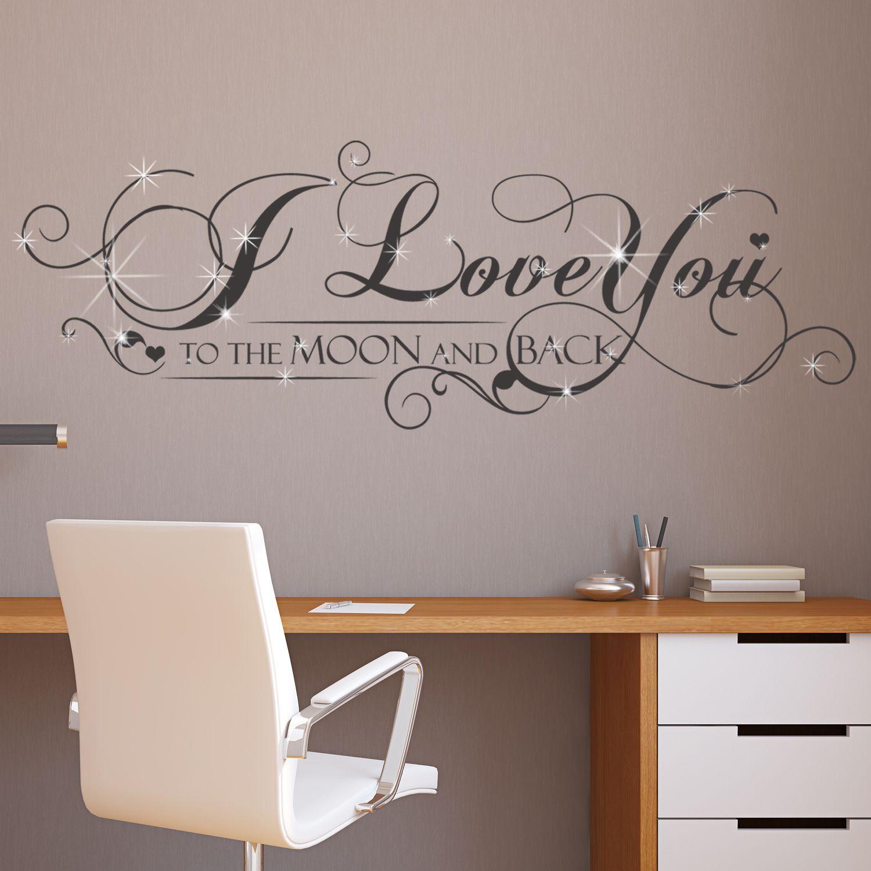 Walplus Wall Sticker Decal Wall Art I Love You Quote with Swarovski Crystals