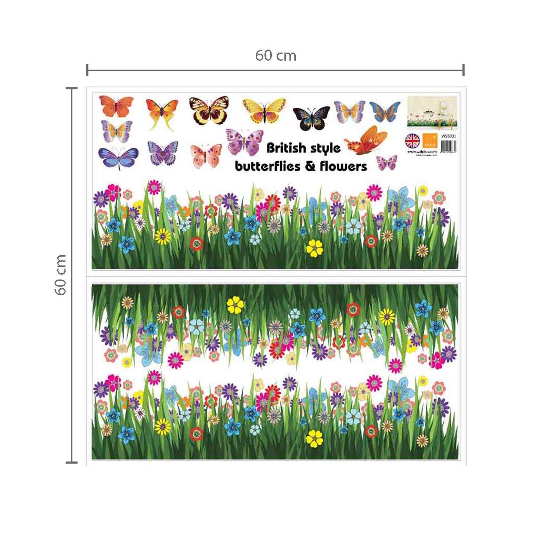 Walplus Wall Sticker Butterfly Grass Skirting with Swarovski Crystals