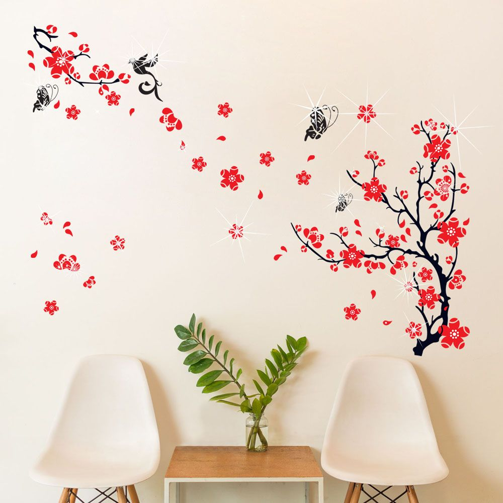 Wall Sticker Decal Blossom Flower with Swarovski Crystals